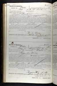 1867 Georgia Voter Oath Book record for Augustus Mills.