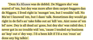 James Lucas was enslaved by CFA President Jefferson Davis. This is the recollection of Ku Klux he shared with WPA interviewers.