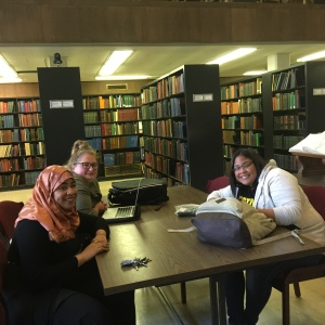 Students from Black Detroit seminar at the Burton Historical Collection in the Detroit Public Library