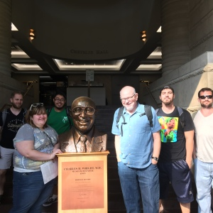 2/3 of the students from my Black Detroit seminar near the bust of Dr. Charles H. Wright at the Wright Museum